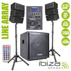 P.A. amplificado Ibiza Cube 15A-Array - 800W - Line-Array - Subgrave + 6 Colunas + 2 Tripes + Cabos (USB + MP3 + SD Cards + Bluetooth + Comando)
