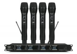 Micro sem fio 4 de mao + Receptor EYKaraoke EFU 4 handheld - UHF - de Rack