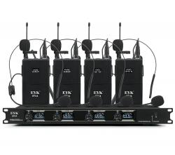 Micro sem fio 4 de lapela + Receptor EYKaraoke EFU 4 lapel - UHF - de Rack