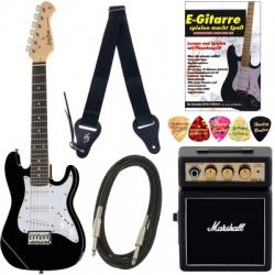 Pack de Guitarra Harley Benton ST-Junior BK Standard S Bundle - Guitarra + Mini Amplificador + Cabo + Alca + Palhetas + Livro - para criancas