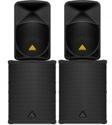 P.A. amplificado Behinger 1512 - 8.000W - 2 Subgraves B1500XP + 2 Colunas B112D