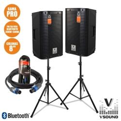 P.A. amplificado VSound VSSPRO8-PACK - 2 Colunas + 2 Tripes + Cabo - 600W (USB + MP3 + SD Cards + Bluetooth + Radio)