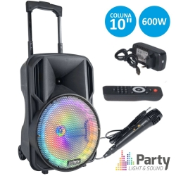Coluna amplificada Party 10RGB - 400W - 10 polegadas - 1 Micro + USB + MP3 + SD Cards + Bluetooth + Radio + Comando - a bateria/s