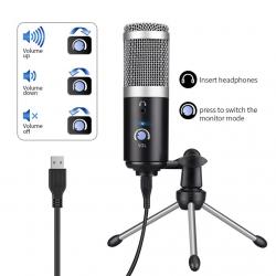 Set 23 - Microfone de Estudio de condensador (USB) + Tripe de secretaria + Suporte + Cabo