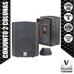 Pack de 2 Monitores com amplificacao VSound VSS25PAP - 80-160W - 2 vias - 5 polegadas