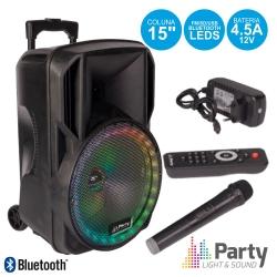 Coluna amplificada Party 15RGB - 800W - 15 polegadas - 1 Micro + USB + MP3 + SD Cards + Bluetooth + Comando - a bateria/s