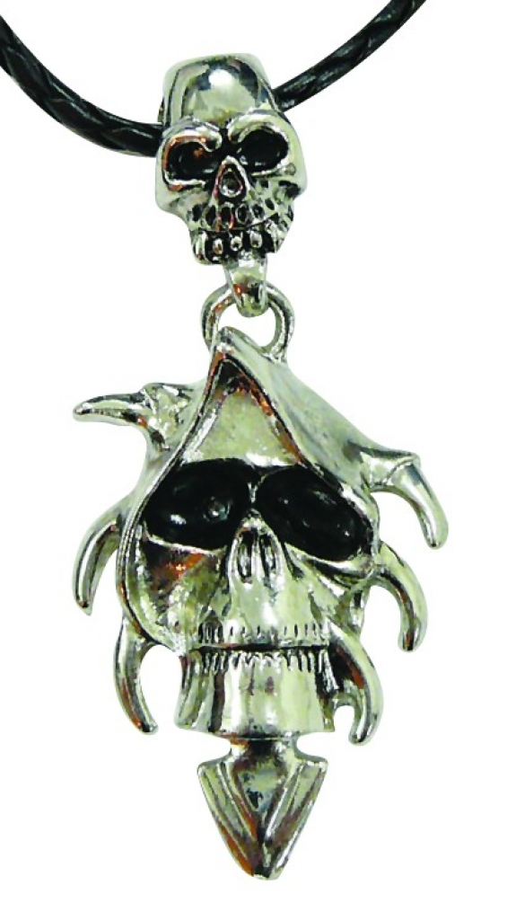 Woven Necklace, Metal Hooded Skull