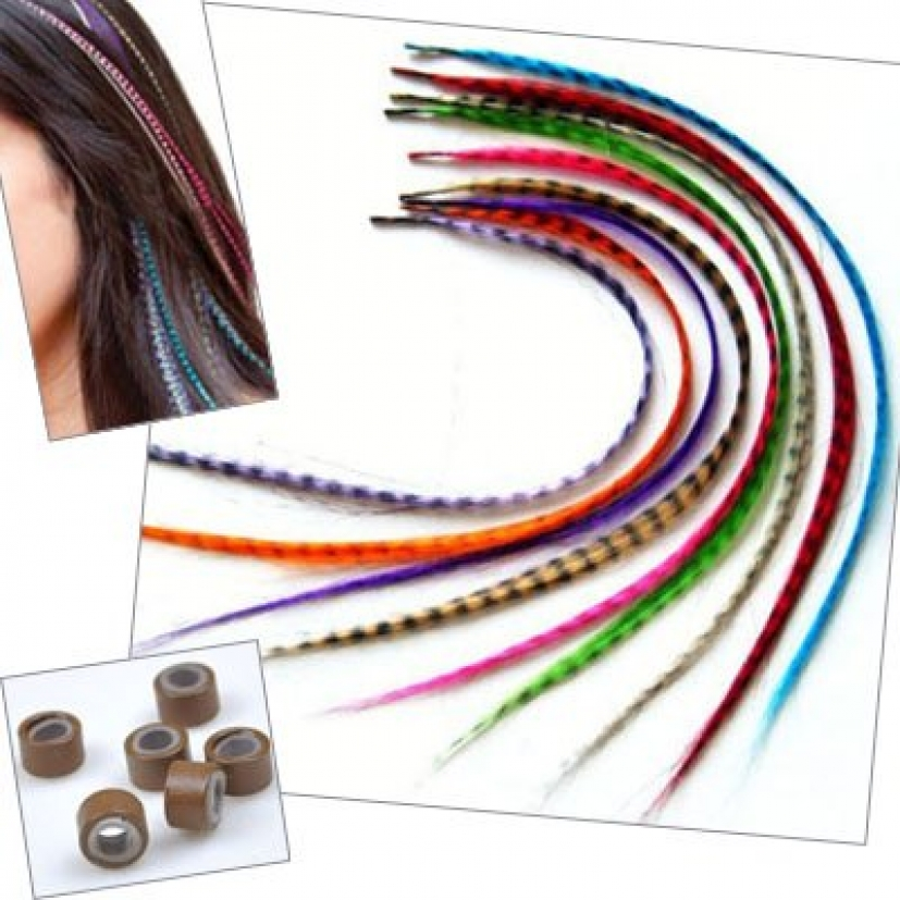 """16"""" Synthetic Grizzy hair extension with bead 2 for 1"""