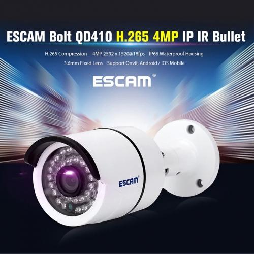 ESCAM QD410 IP Camera - 1/3 Inch CMOS, 2592x1520 Resolutions, H 265
