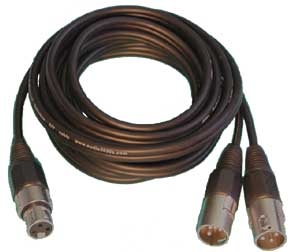 One XLR Female Connector to Two  XLR Male Connectors