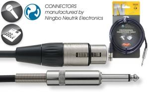 Professional Mic cable - XLR/Phone plug - Ningbo-Neutrik connectors - ROHS Compliant - Length: 3 mtr / 10 ft. - black