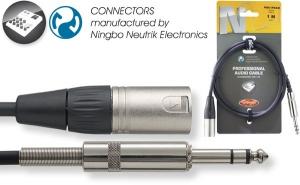 Professional audio cable - Stereo phone plug/XLR M - Ningbo-Neutrik connectors - ROHS compliant - 1 mtr / 3 ft. - black - diam. 6 mm / 0.2 in
