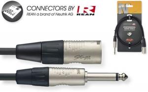 Mono Phone Plug / XLR M - with REAN connectors 3m / 10ft - black  THIN