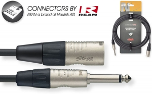N-Series Audio Cable - Mono Phone Plug / XLR M - with REAN connectors - ROHS compliant - 6m / 20ft - black - diam.: 6mm / 0.2in