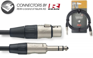 N-Series Audio Cable - Stereo Phone Plug / XLR F - with REAN connectors - ROHS compliant - 3m / 10ft - black - diam.: 6mm / 0.2in.