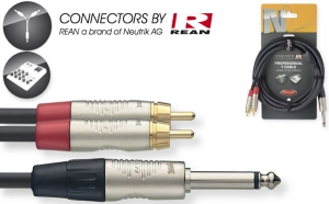N-Series Y-cable - Mono Phone Plug / 2 x RCA M - with REAN connectors - ROHS compliant - length: 3m/10ft - black.