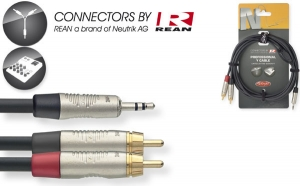 N-Series Y-cable - Stereo Mini Phone Plug / 2 x RCA M - with REAN connectors - ROHS compliant - length: 3m/10ft - black.