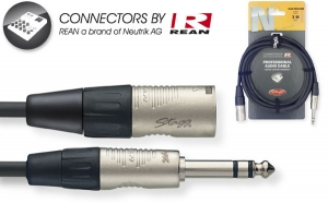 N-Series Audio Cable - Stereo Phone Plug / XLR M - with REAN connectors - ROHS compliant - 3m / 10ft - black - diam.: 6mm / 0.2in
