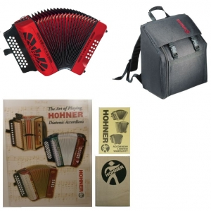 HOHNER Compadre Accordion GCF SOL 31 Button  Red ( FREE GIG BAG ) WARRANTY SEEDETAILS SKU 0318201803
