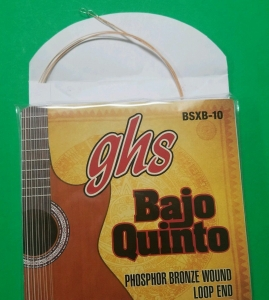 GHS BAJO QUINTO 1st pair only BSXB-10 PHOSHOR BRONZE WOUND LOOP END STRINGs