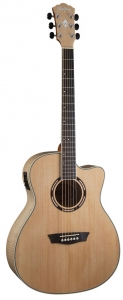 Washburn AG40CEK Grand Auditorium Acoustic Electric Cutaway Solid Spruce Top with Flame Maple Back and Sides