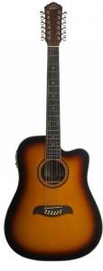Oscar Schmidt OD312CETS 12-String Dreadnought Cutaway Acoustic Electric Guitar, Tobacco Sunburst