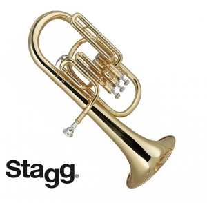 Stagg WS-AH235 Brass Body 3 Valves Eb Alto Horn w/ABS Case & Mouthpiece Silver Plated-Clear Lacquer