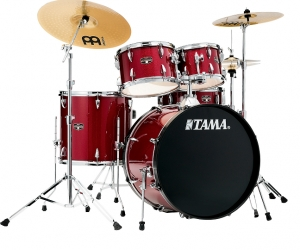 TAMA Imperialstar 5-Piece Complete Drum Set with 22 in. Bass Drum and Meinl HCS Cymbals  Candy Apple Mist
