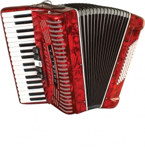 Hohner 1305-RED Hohnica 72 Bass 34-Key Entry Level Piano Accordion Range G to E