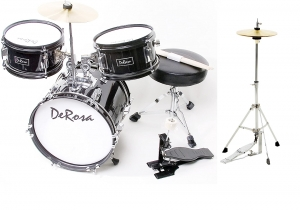 De Rosa BK Children's 4-Piece 12-Inch Drum Set with Chair, Black New Hi hat stand INCLUDED