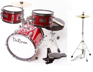 De Rosa Red Children's 4-Piece 12-Inch Drum Set with Chair, Black New Hi hat stand INCLUDED