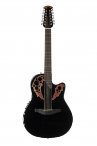 Ovation Celebrity Collection 12 String Acoustic-Electric Guitar, Right, Black, Mid Depth Body (CE4412-5)