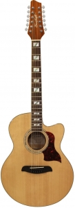 Sawtooth Solid Spruce Top Jumbo Cutaway 12 String Acoustic Electric Guitar with Flame Maple Back and Sides