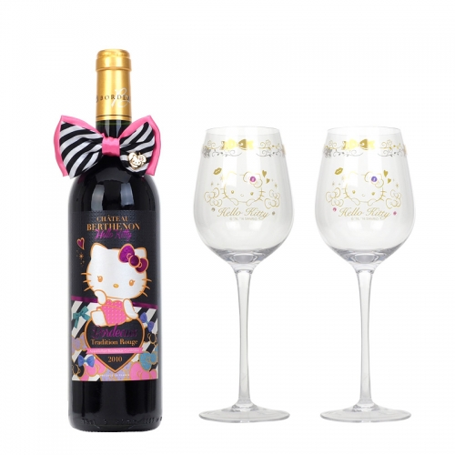 Hello Kitty Bordeaux Tradition Rouge 2010 & Wine Glass Set