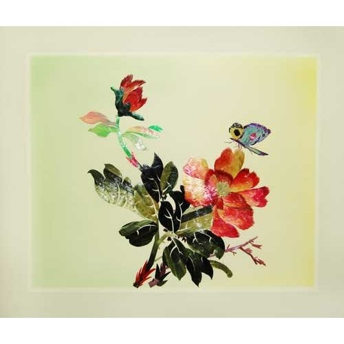 Butterfly and Peony - Antique Woven Wheat Stalk Picture, Hand Crafted