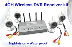 4CH Cameras Wireless DVR Receiver kit CCTV Security System Nightvision Waterproof Outdoor Wifi Wireless Camera