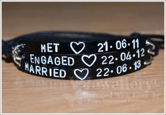 Together... Engaged...  Married Triple Multi-Plate Bracelet