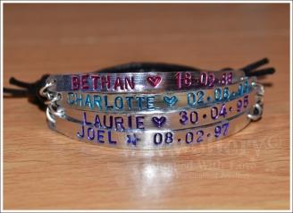 Personalised 4 Multi-Plate Hand Stamped Bracelet