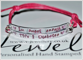 """""""Im sweet enough"""" Diabetic Hand Stamped Double Plate Bracelet"""