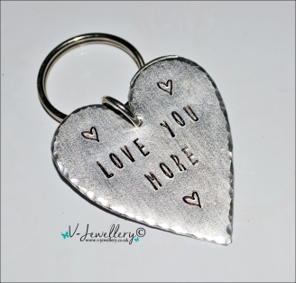 """Love You More"" Hand Stamped Heart Keyring"