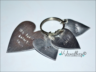 """Personalised Hand Stamped """"My heart belongs to..."""" Hearts Keyring"""