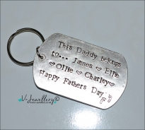 Personalised Hand Stamped Extra Large Dog Tag Keyring