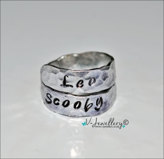Personalised Hand Stamped Textured Hammered 2 Wrap Ring