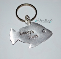 Personalised Hand Stamped Fish Keyring