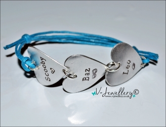 Personalised Hand Stamped Triple Hearts Bracelet