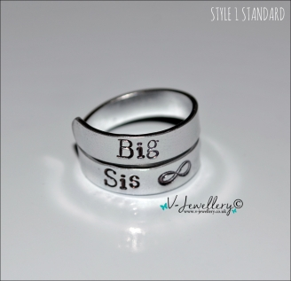 Sister Hand Stamped Wrap Ring