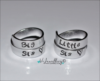 Sisters Hand Stamped Wrap Ring Sets