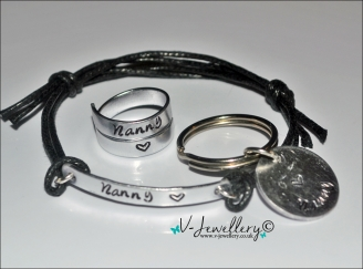 Bracelet, 2 Wrap Ring & Keyring Hand Stamped Gift Set