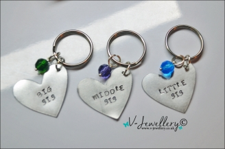 Sisters Hand Stamped Heart Keyring