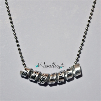 """Personalised """"Secret Message"""" Wrap Pendant *Stainless Steel Ball chain 20 inch*"""